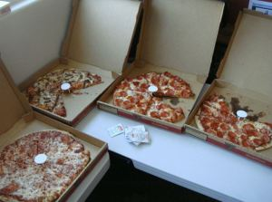 lots of straw hat pizza